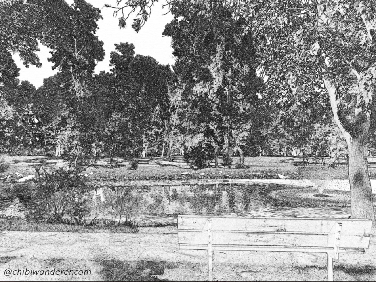 Sketch of bench in front of a lake