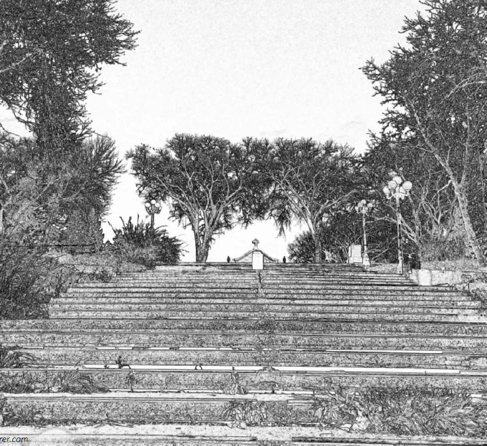 Sketch of a stair along the trees