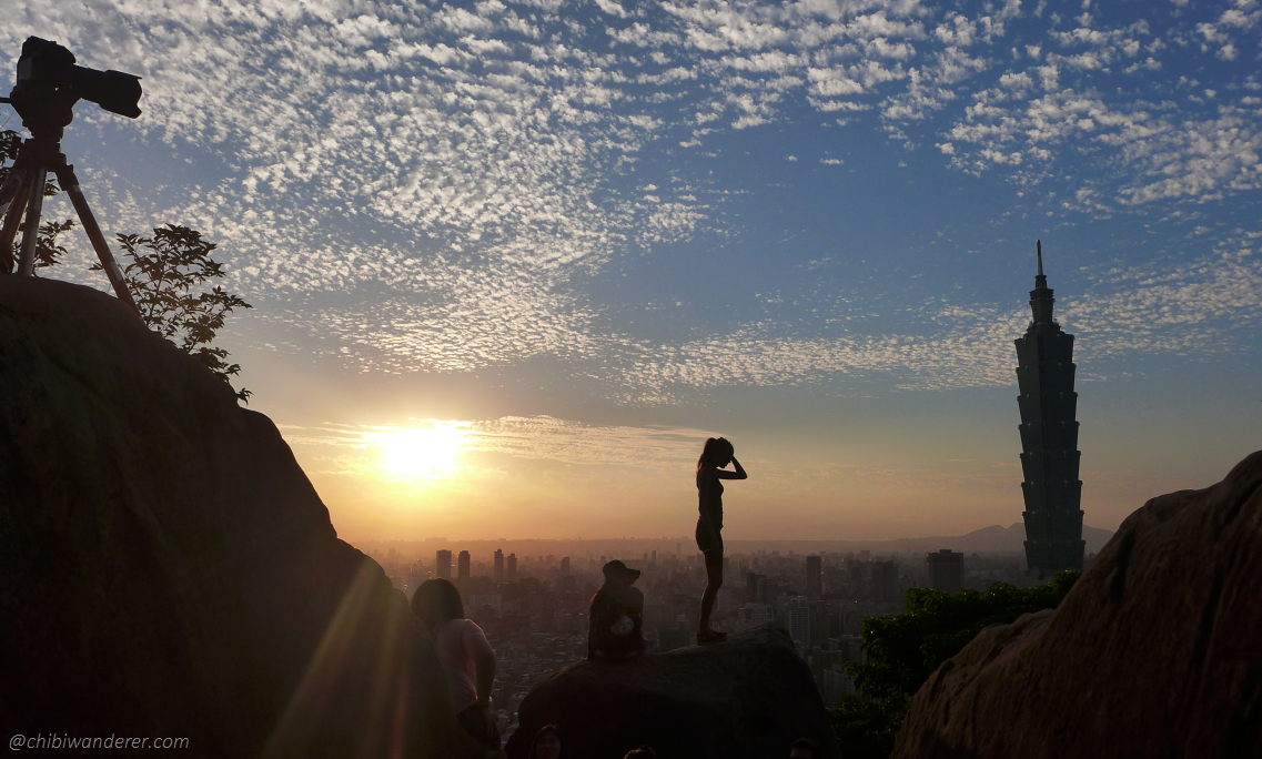 View of Taipei 101 and sunset form the top of Elephant Mountain Taiwan
