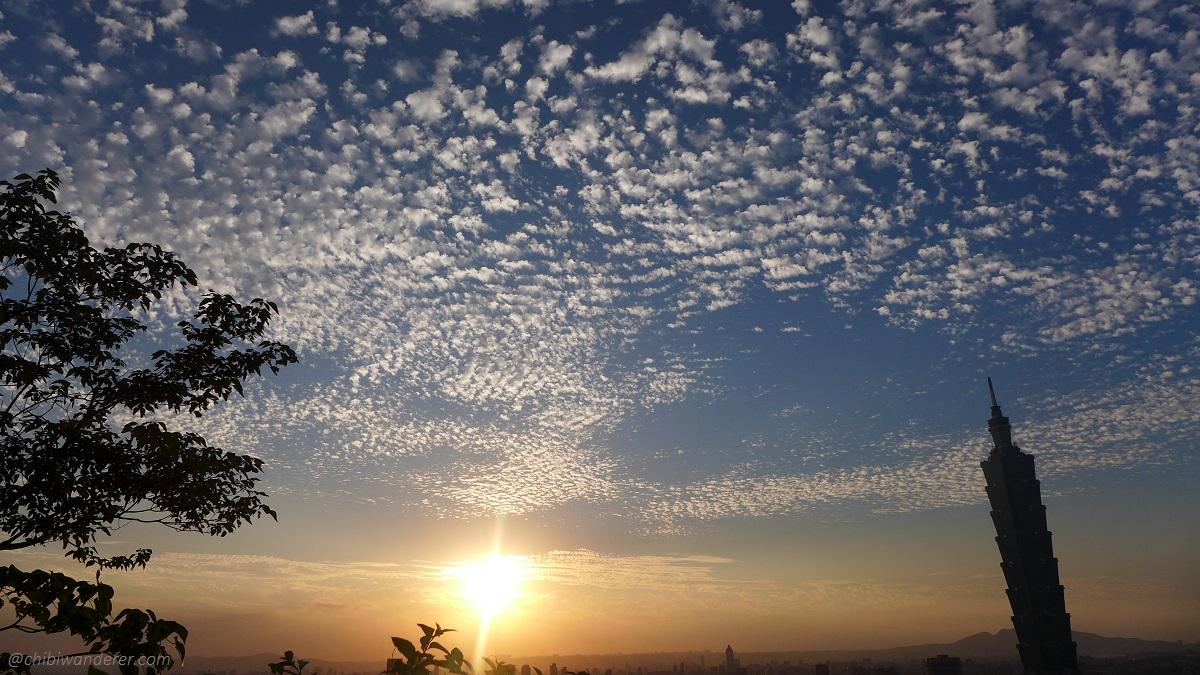 View of the sunset, Taipei 101 and the beautiful cirrocumulus cloud Taiwan