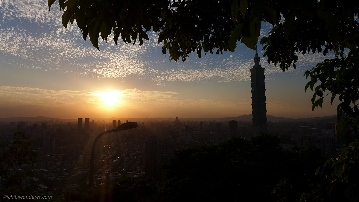 View of sunset and Taipei 101 from the first lookout on the Elephant Mountain Taiwan