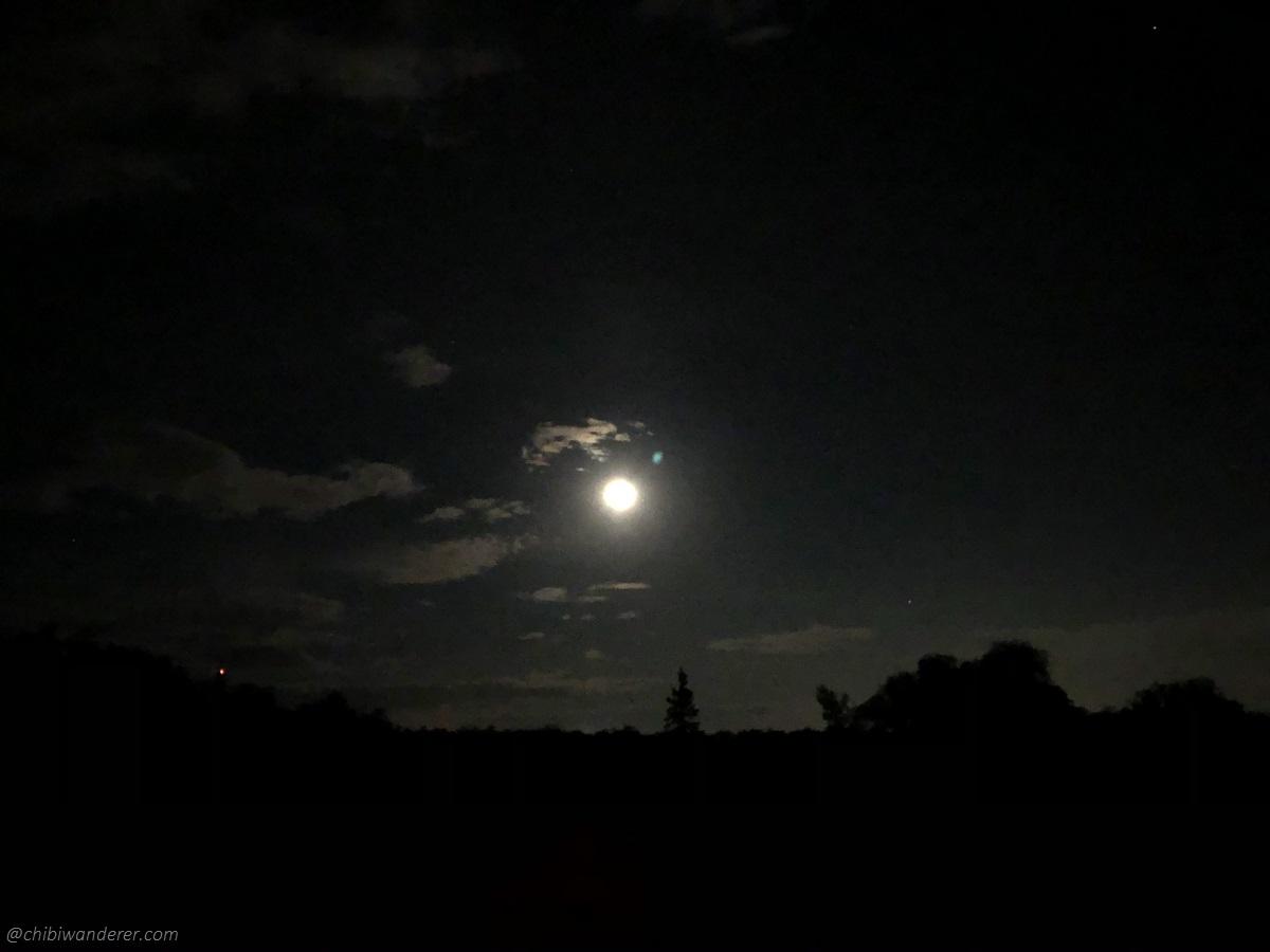 Full moon shining over Bird's Hill Manitoba