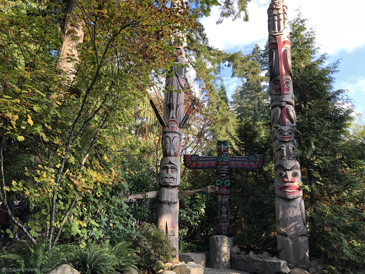 Totem Poles in Capilano Bridge Park Vancouver BC Canada