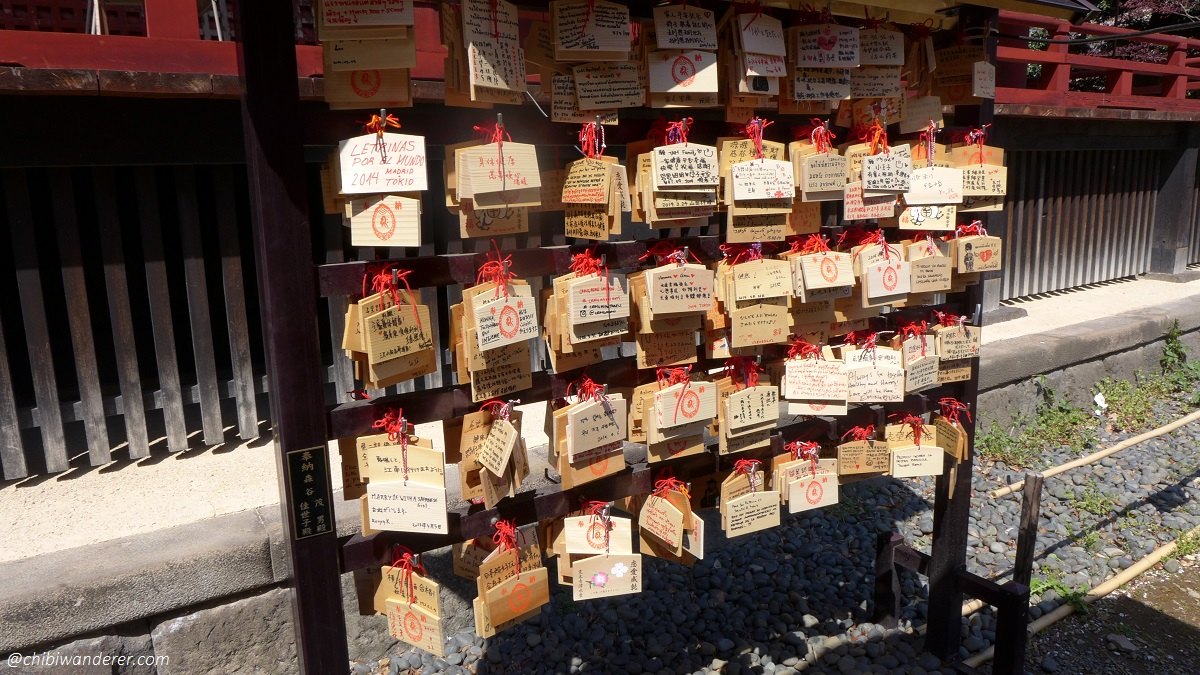 Ema - small wooden plaques for wishes and prayers at Ueno Park Japan